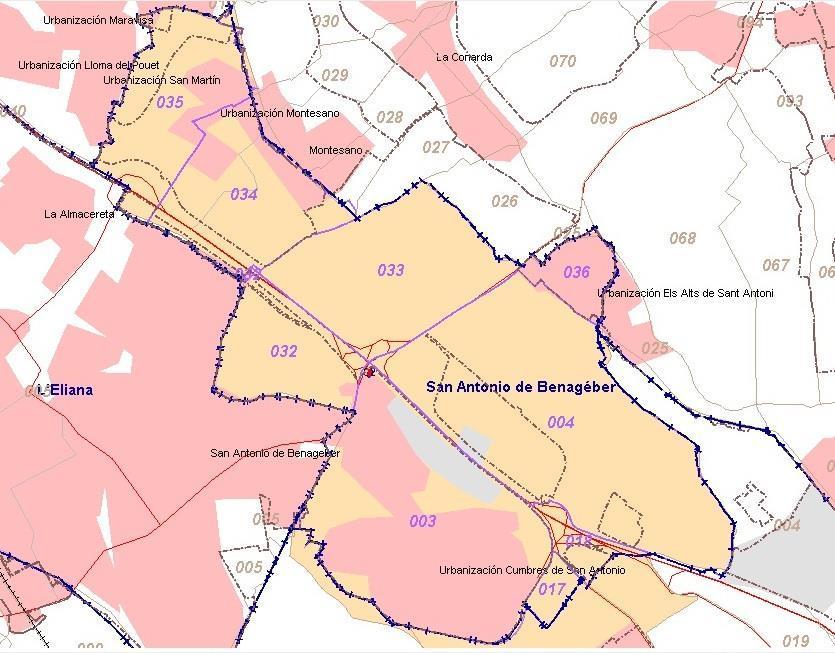 Mapa San Antonio de Benageber