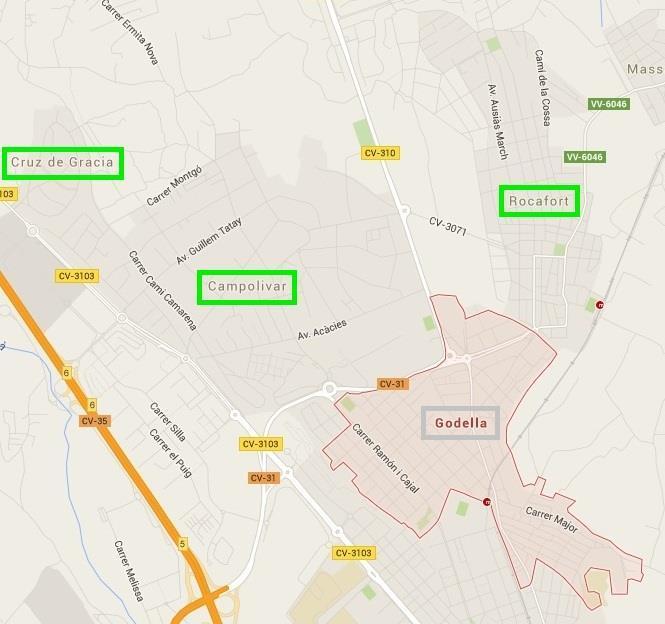 Mapa de urbanizaciones de Godella