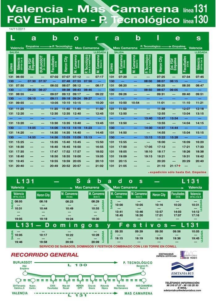 Bus Schedule Mas Camarena Valencia