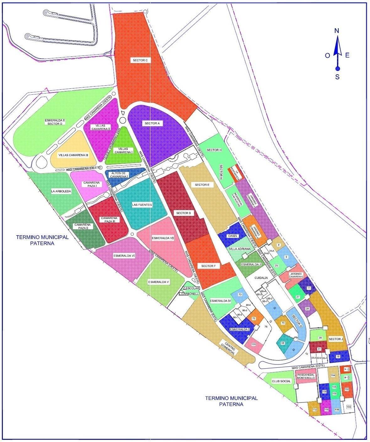 Mapa urbanizaciones de Betera