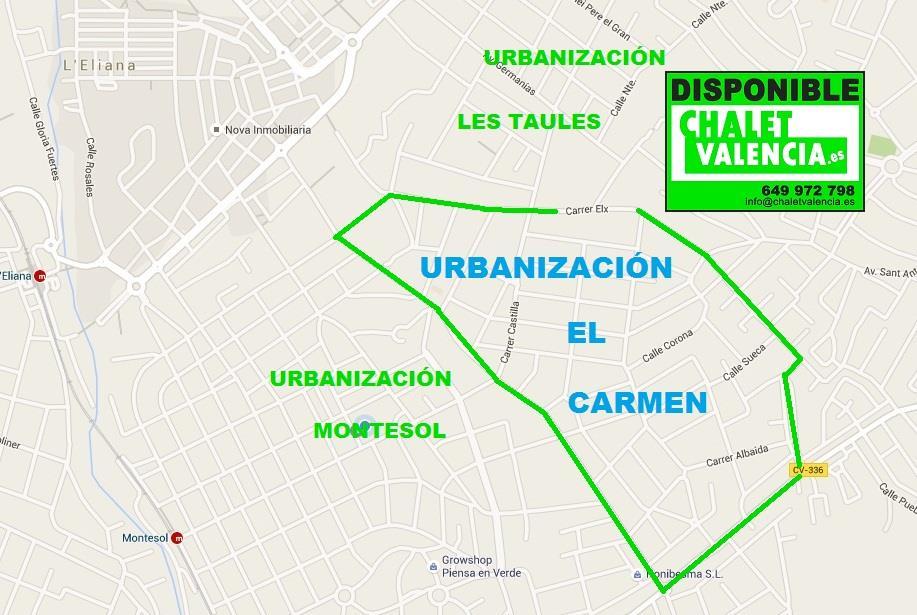 Mapa urbanización El Carmen La Eliana