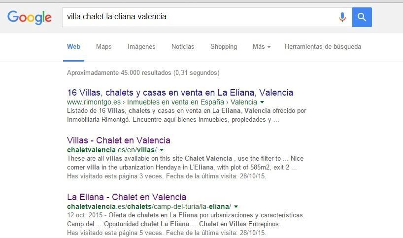 Chalet Valencia en primera página de Google