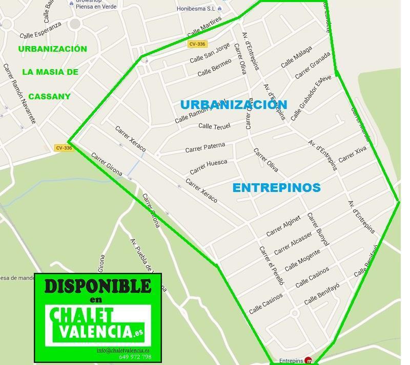 Mapa callejero Entrepinos La Eliana Chalet Valencia