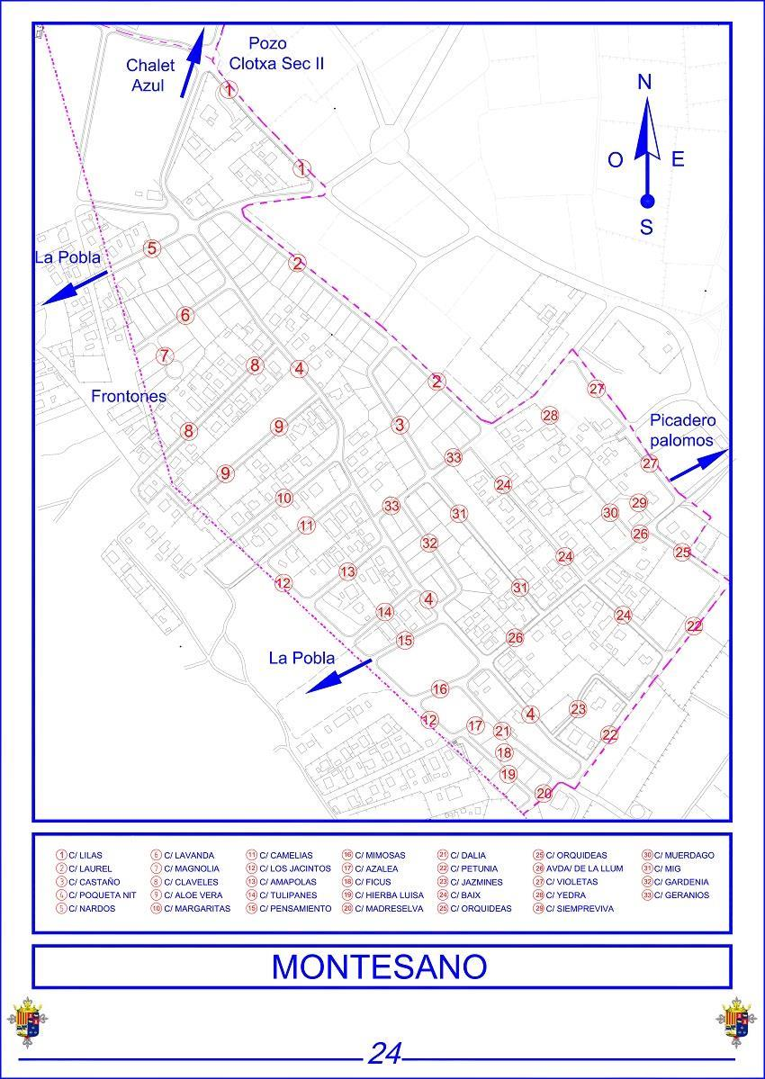 Mapa callejero montesano bétera valencia