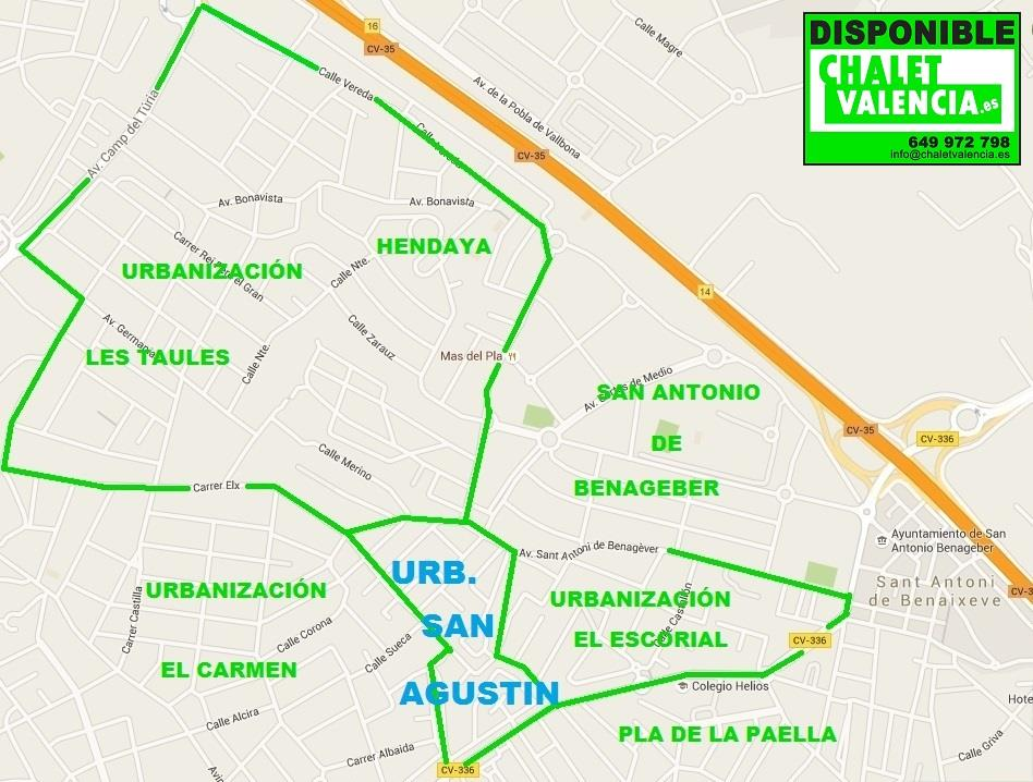 Mapa urbanización San Agustin La ELiana