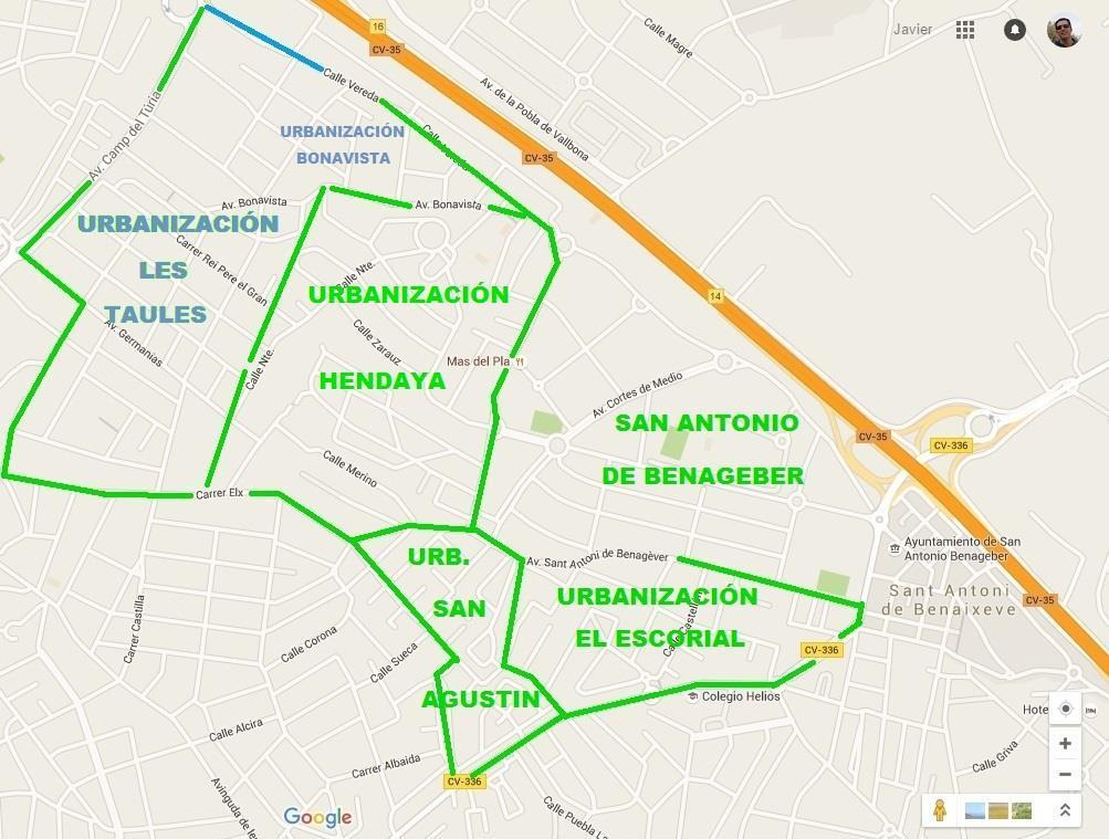 Mapa urbanización Les Taules en La Eliana Valencia