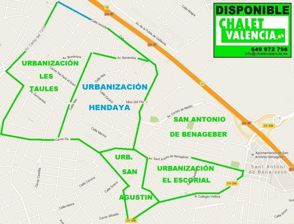 Map Urbanization Hendaya L'Eliana Valencia