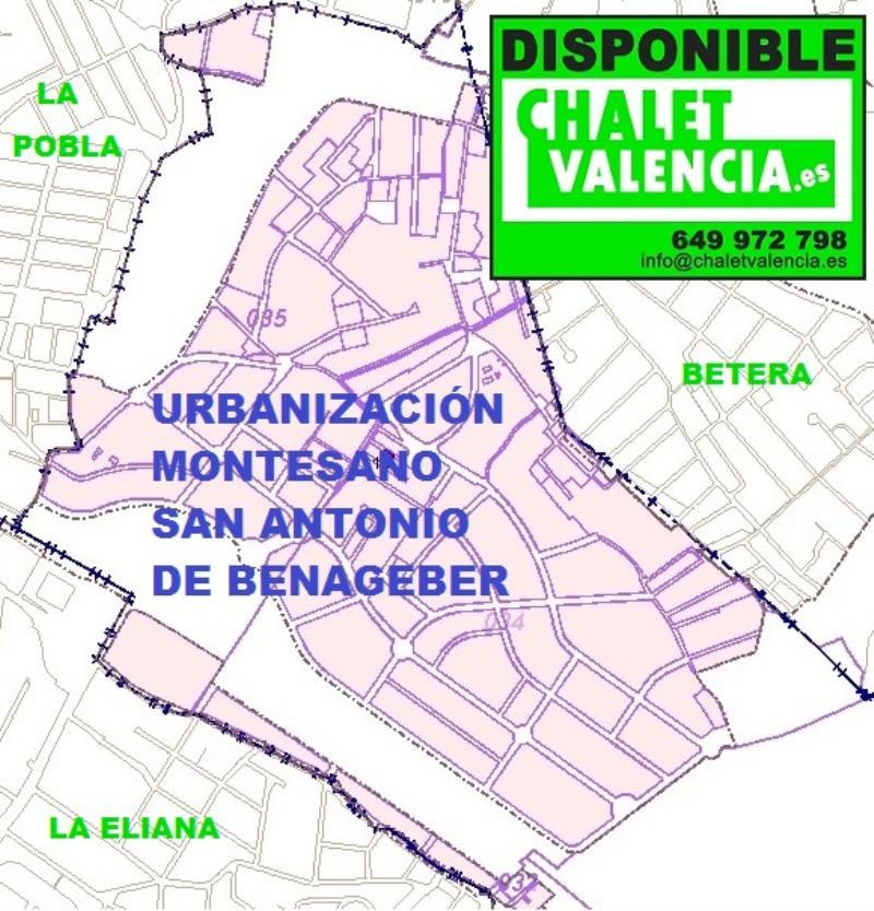 Limites urbanización Montesano San Antonio de Benageber