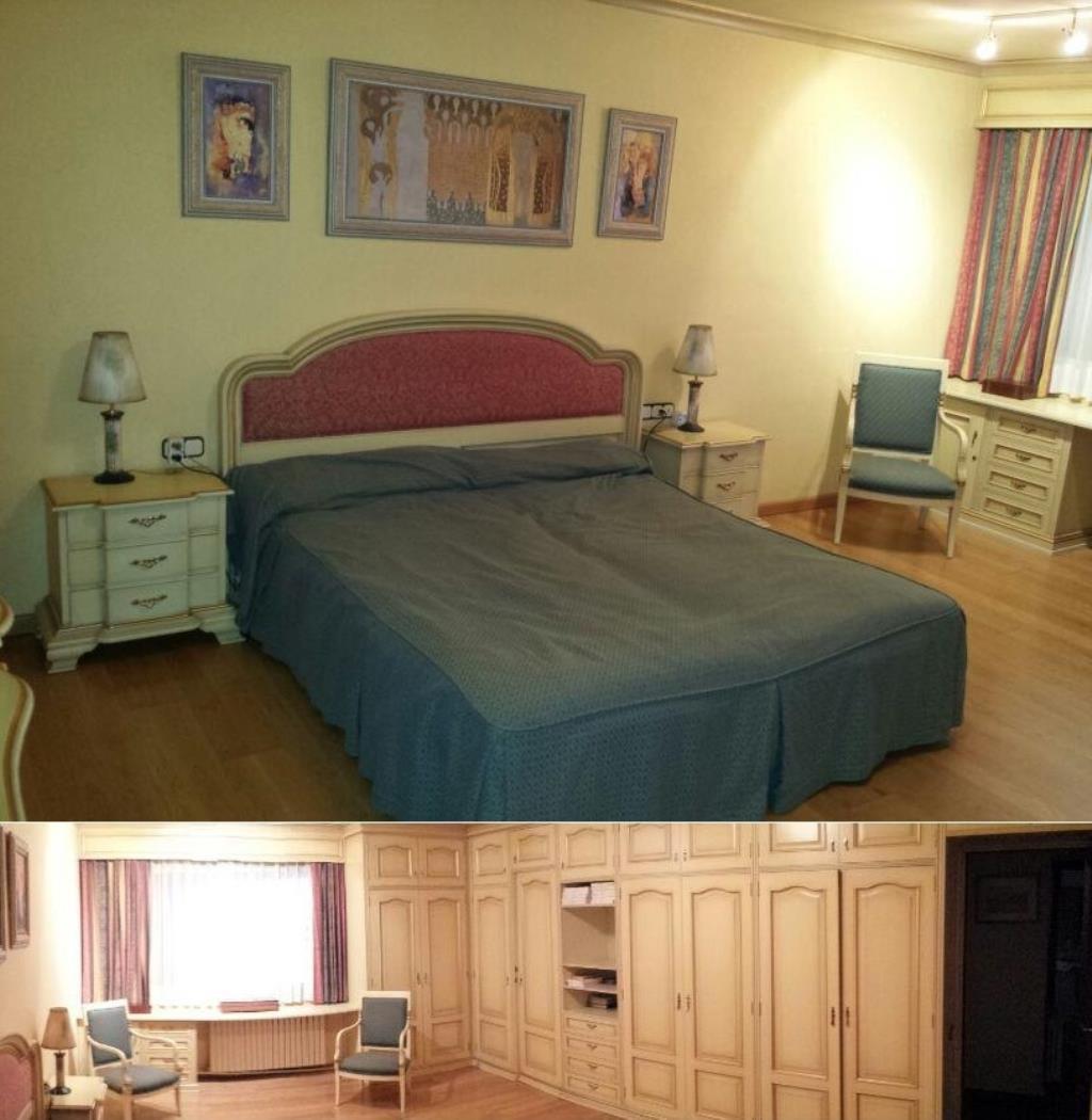 Gran habitación principal con suelo de parket
