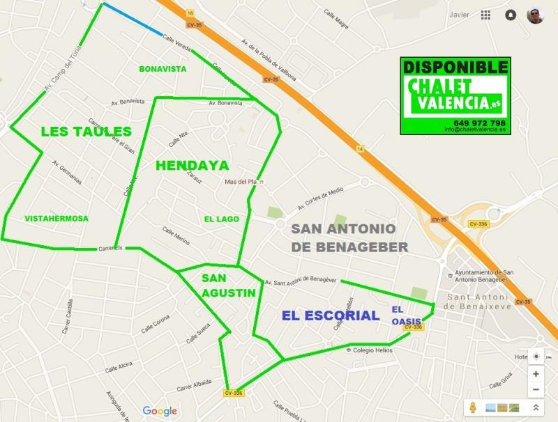 Mapa urbanización El Escorial de La Eliana