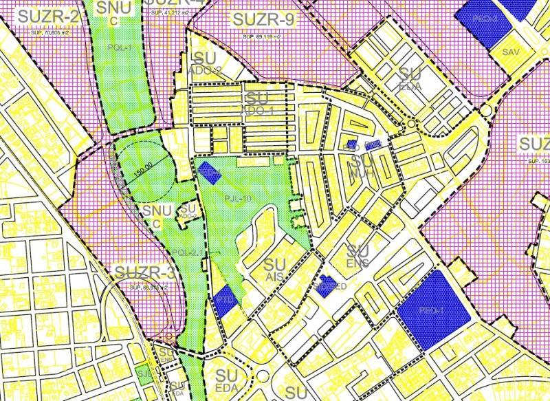 Mapa clasificación urbana zona Casetes pueblo La Eliana