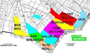 Mapa urbanizaciones sur Pobla Vallbona Gallipont