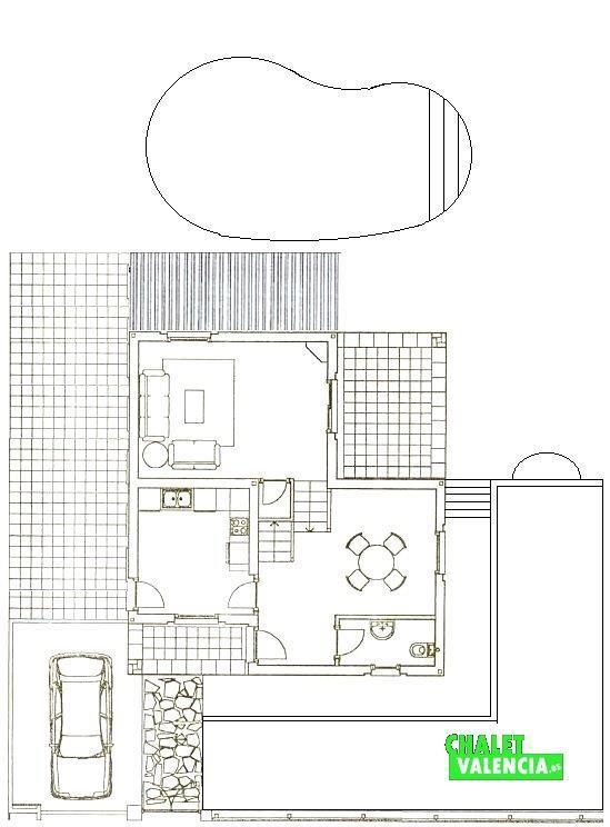 Plano planta baja chalet Masia Traver Valencia