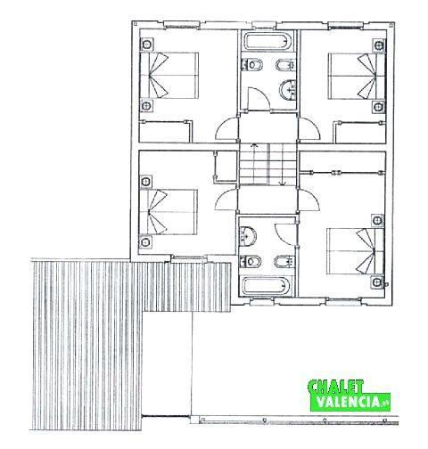 Plano zona privada de habitaciones