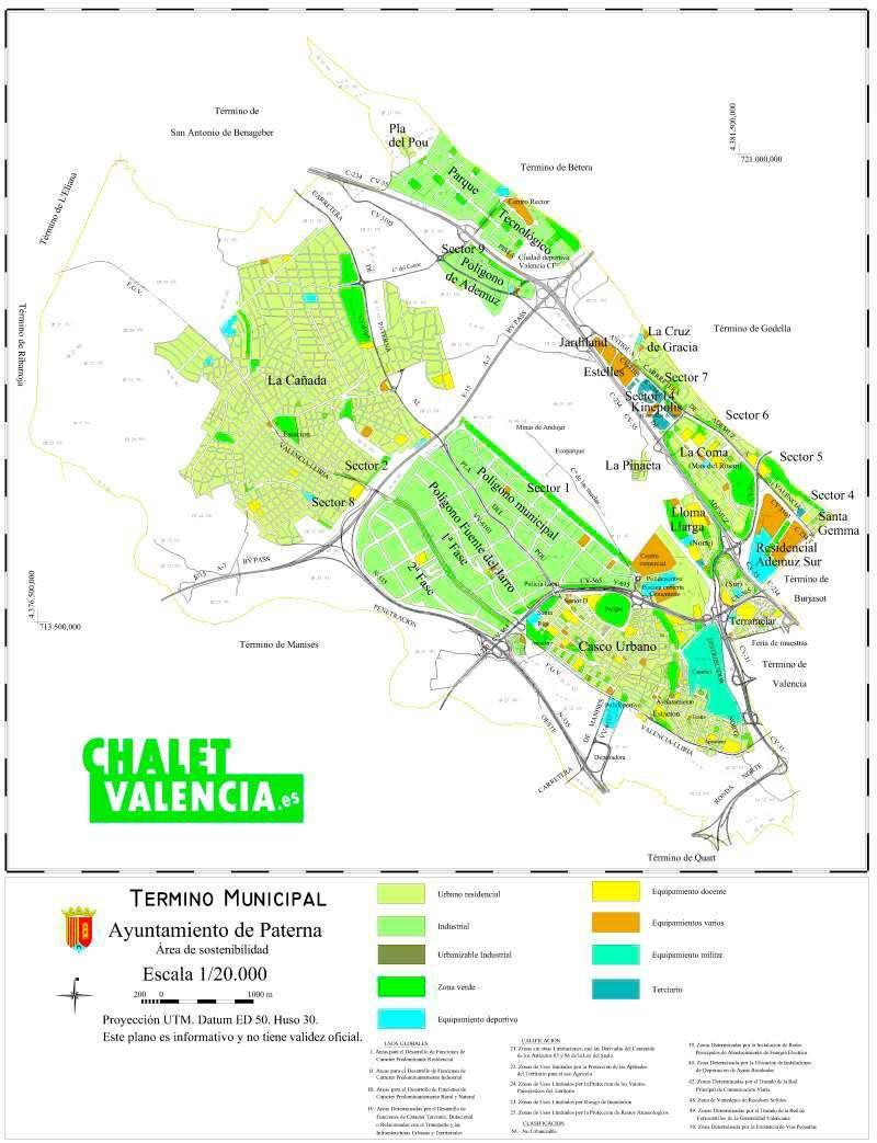 Mapa de urbanizaciones de Paterna