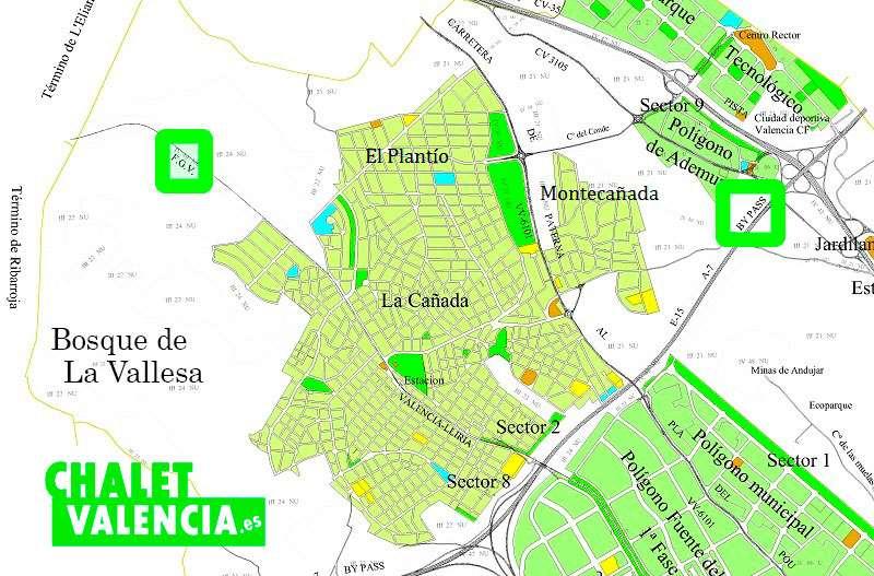 Mapa La Cañada Paterna Valencia