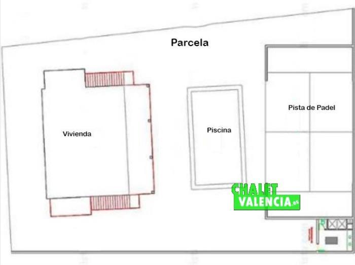 Plano parcela alquiler y venta chalet Montepilar La Eliana