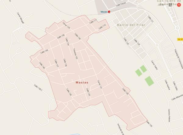 Mapa urbanización Masias Moncada