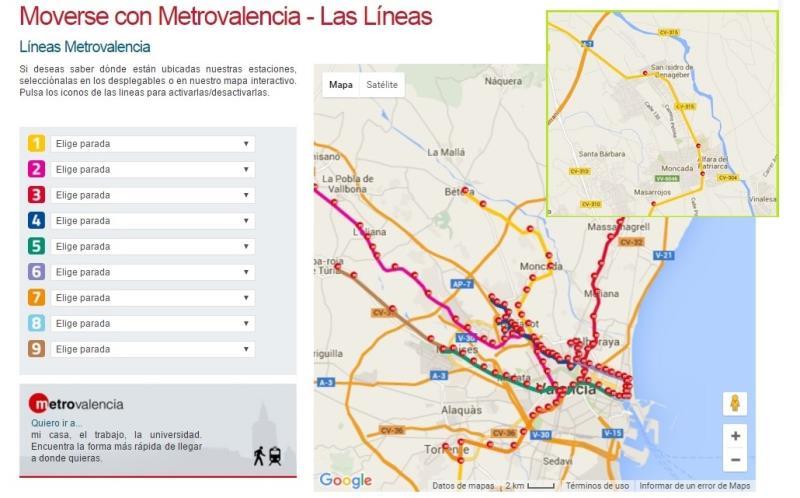Servicio Metro Valencia en Moncada