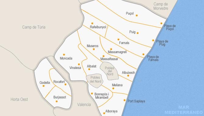 Mapa ubicación municipio de Moncada