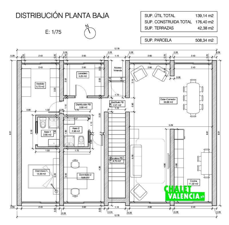 Plano planta baja chalet obra nueva Bétera