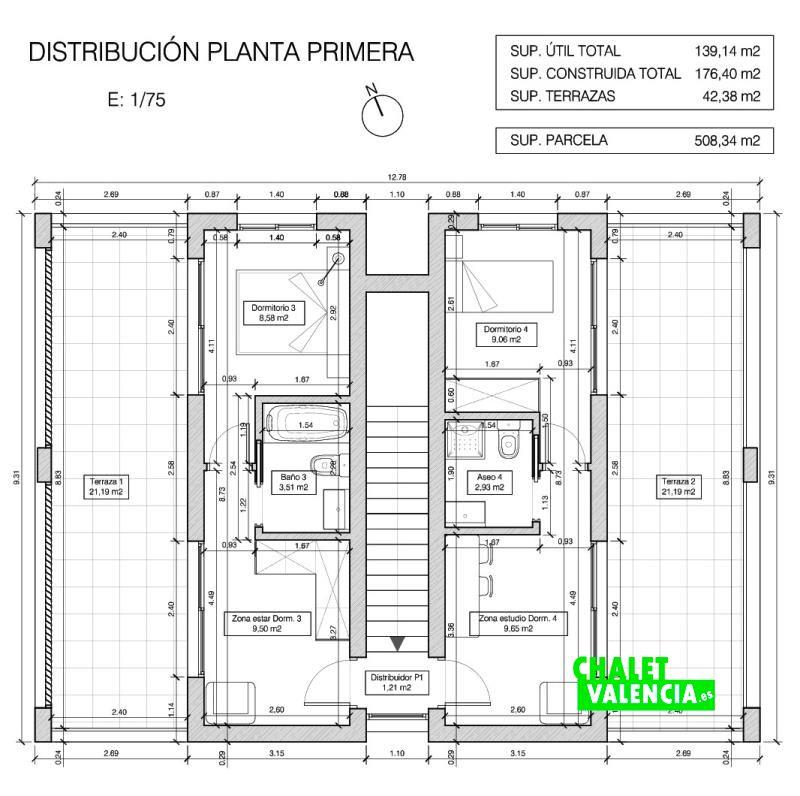Plano primera planta chalet obra nueva Bétera
