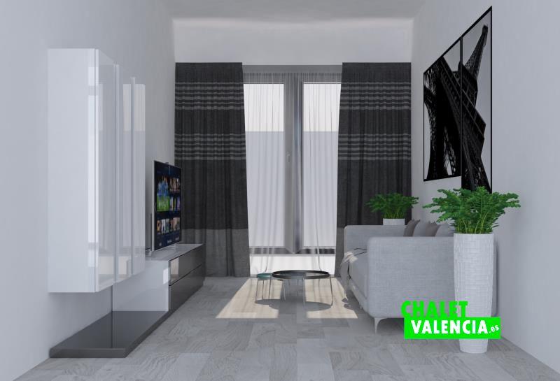 Diseño virtual del salón del chalet de obra nueva en Bétera