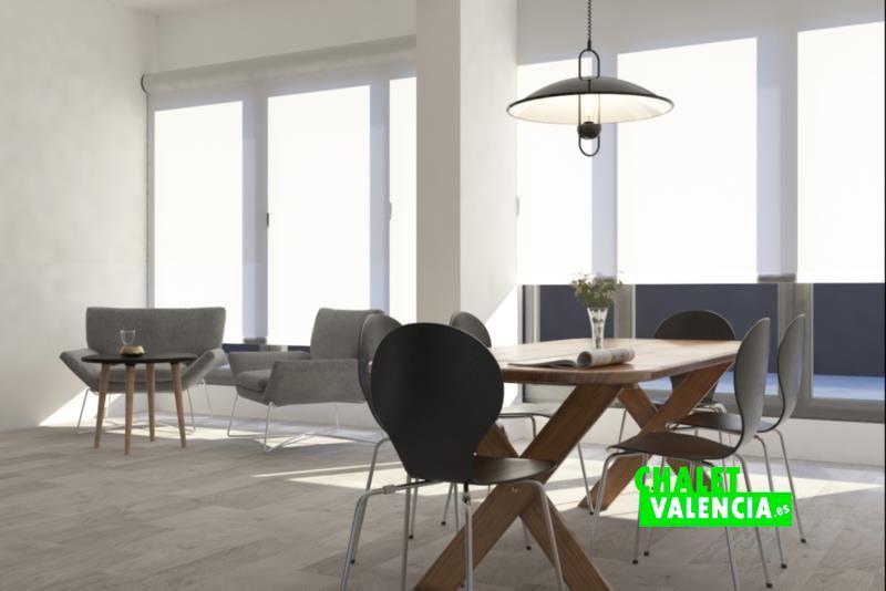 Diseño virtual del comedor del chalet de obra nueva en Bétera