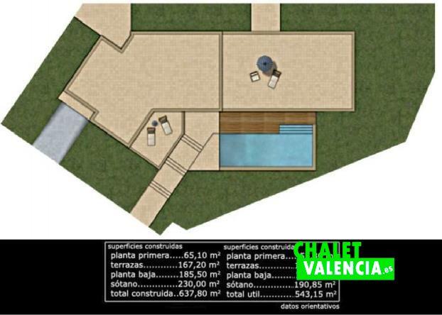 Plano dimensiones chalet en construcción Hendaya