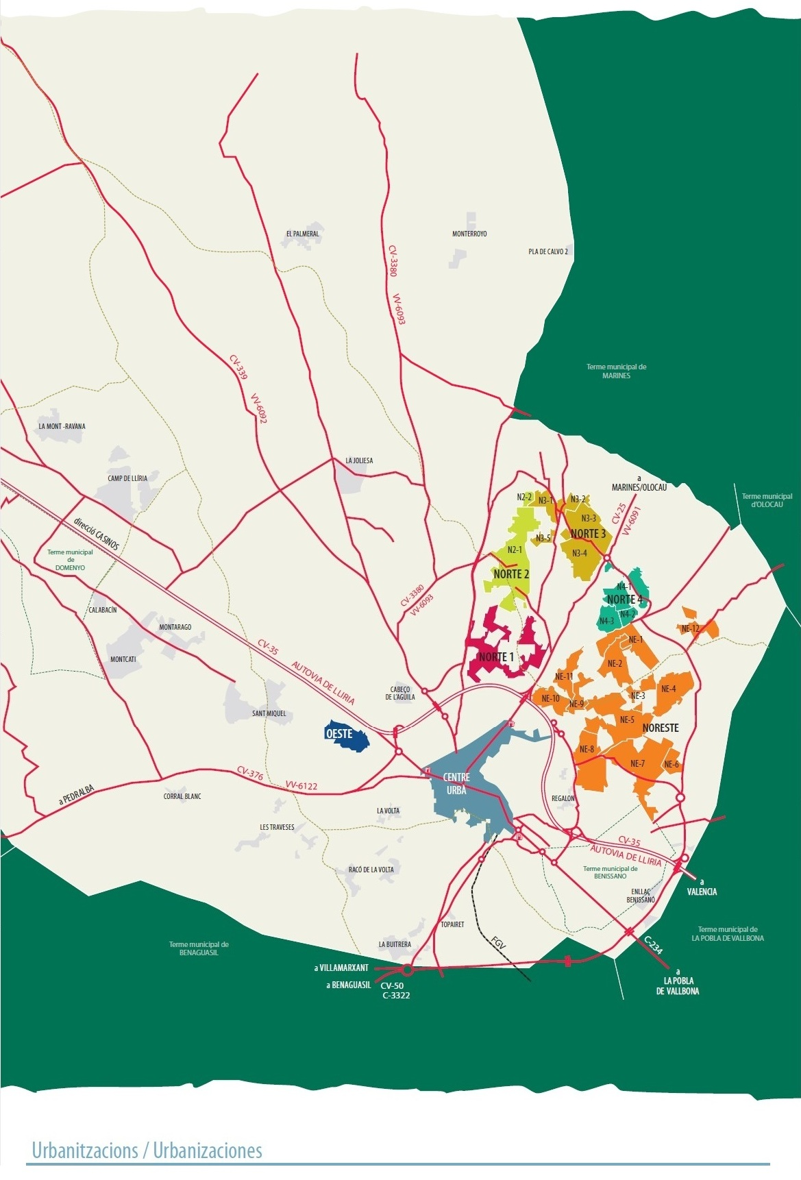 Mapa urbanizaciones Lliria