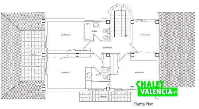 Plano primera planta chalet La Eliana