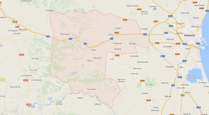 Mapa comarca La Hoya de Buñol
