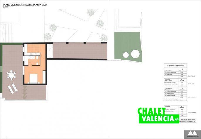 Plano vivienda de invitados Chalet Valencia