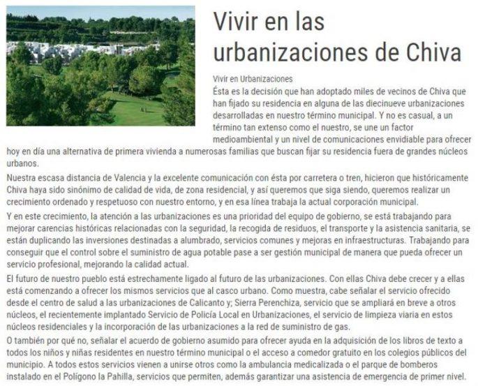 Vivir en las urbanizaciones de Chiva