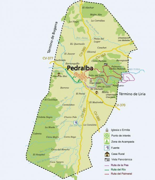 Mapa Pedralba urbanizaciones